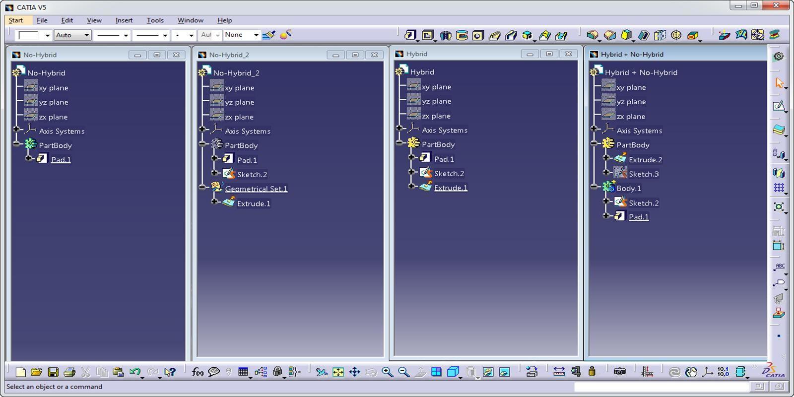 Como diferenciar Design Híbrido de Não-Híbrido no CATIA V5